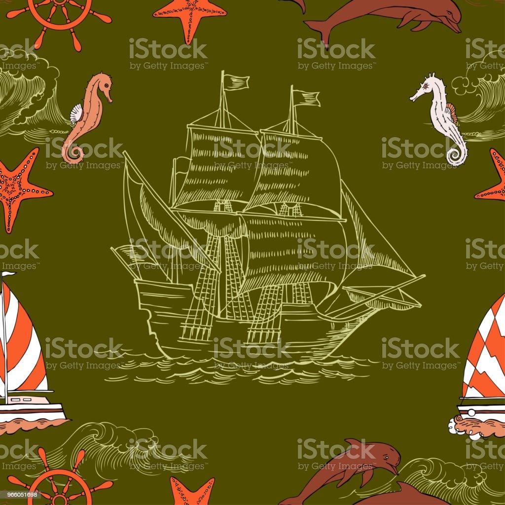 Nautische Musterdesign mit Segeln vesselsand - Lizenzfrei Anker Vektorgrafik