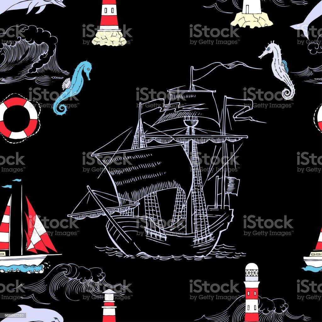 Nautiska sömlösa mönster med segling vesselsand - Royaltyfri Ankare - Fartygsdel vektorgrafik