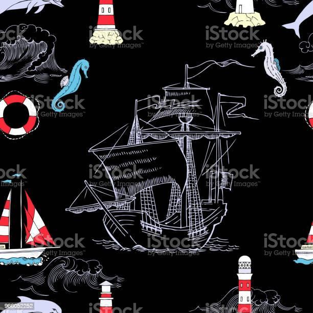 Nautiska Sömlösa Mönster Med Segling Vesselsand-vektorgrafik och fler bilder på Ankare - Fartygsdel