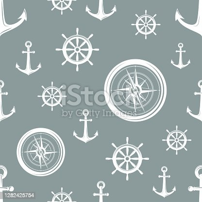 istock Nautical seamless pattern with white helms, anchors and compass on grey. 1282425754