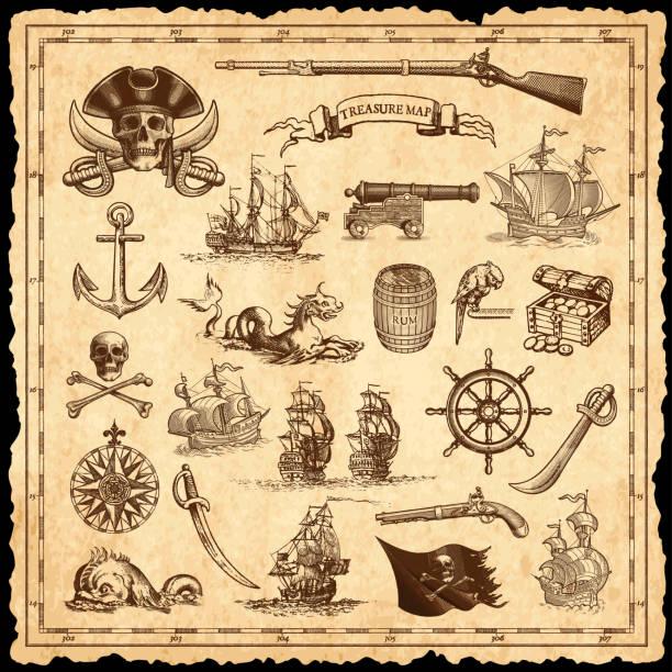 illustrazioni stock, clip art, cartoni animati e icone di tendenza di set nautico - antico vecchio stile