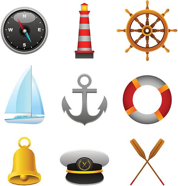 nautische set - matrosenmütze stock-grafiken, -clipart, -cartoons und -symbole