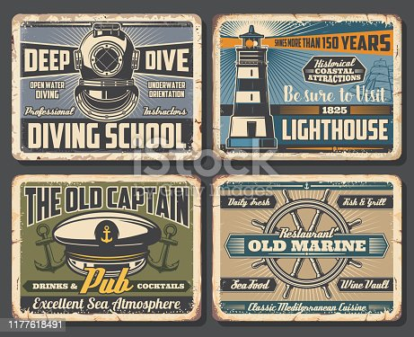 Nautical anchors, sea ship helm and marine lighthouse, sailing boat and vintage diving helmet vector design. Rusty metal signboards of seafood restaurant, marine club, pub and diving school