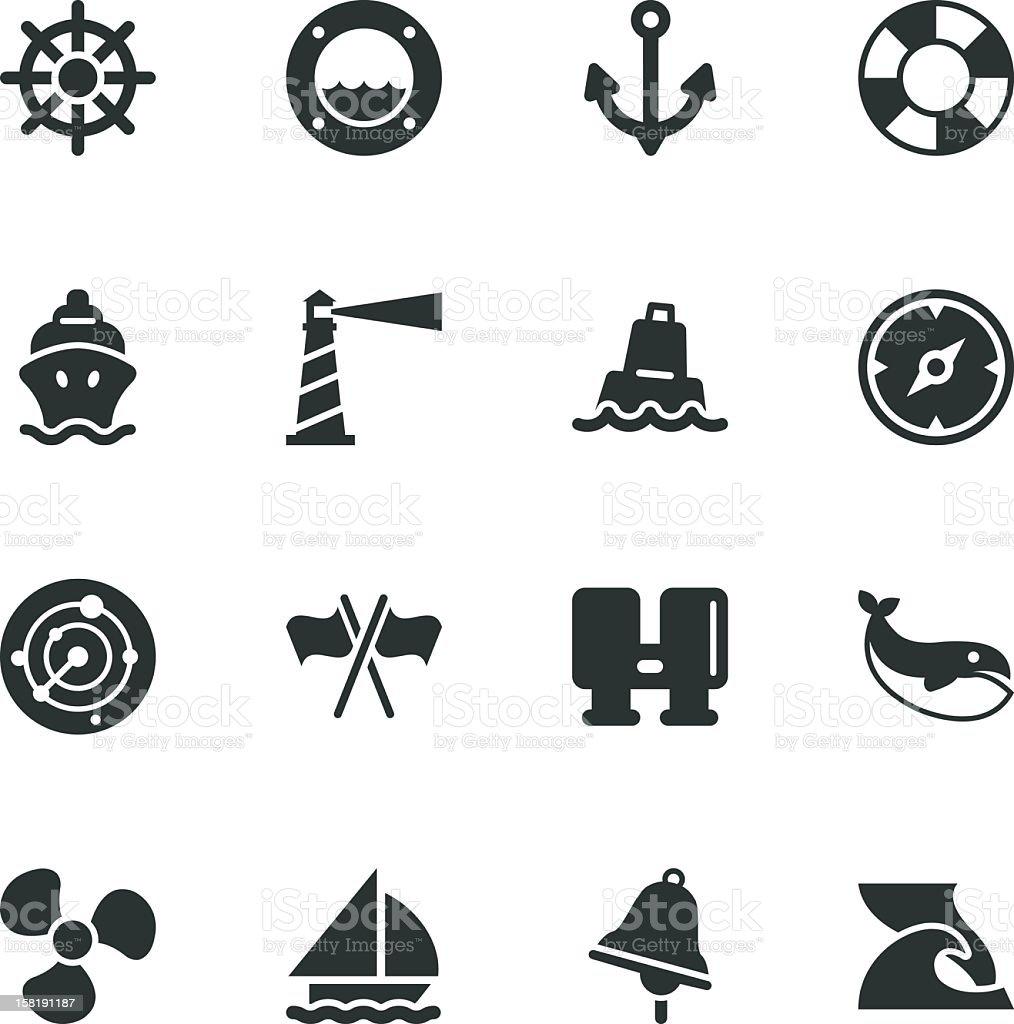 Nautical Silhouette Icons vector art illustration