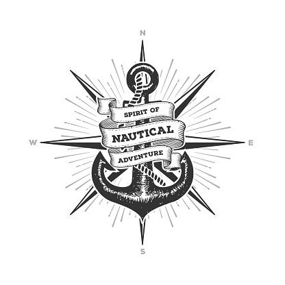 Nautical Spirit of Adventure Anchor Vector Illustration
