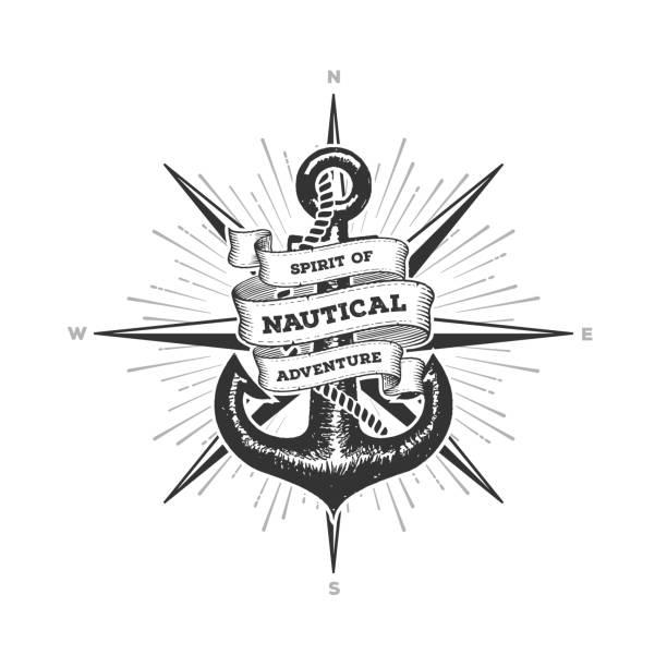 illustrations, cliparts, dessins animés et icônes de esprit nautique de l'aventure ancre vecteur illustration - tatouages marins