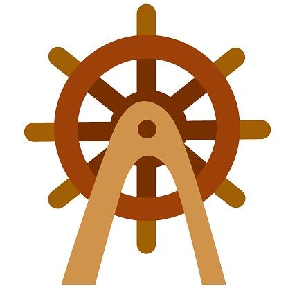 nautical steering wheel, cartoon illustration, isolated object on white background, vector illustration,