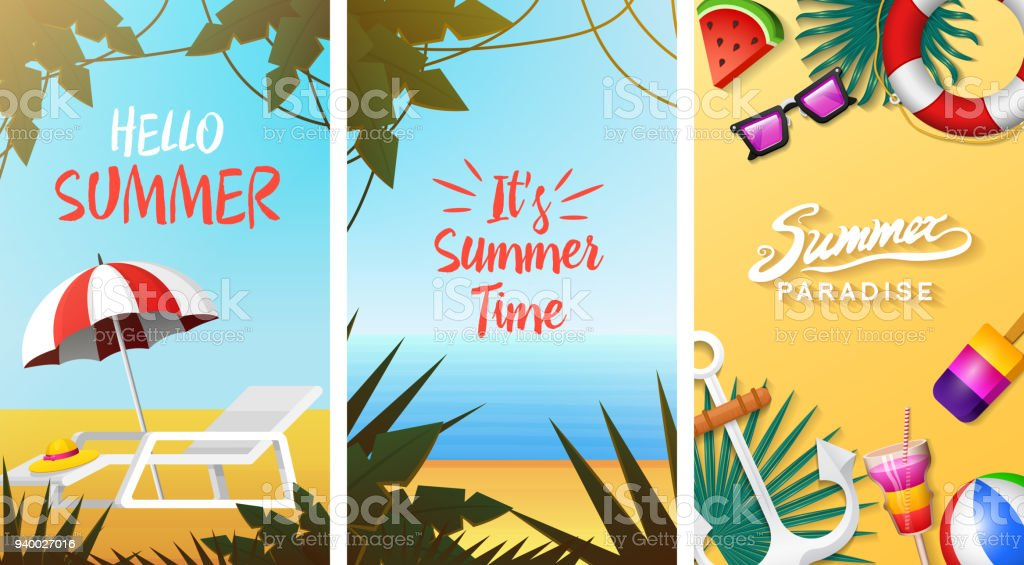Nautical Summer Cards Marine Vacation On The Beach Tropical Plants Poster Or Background