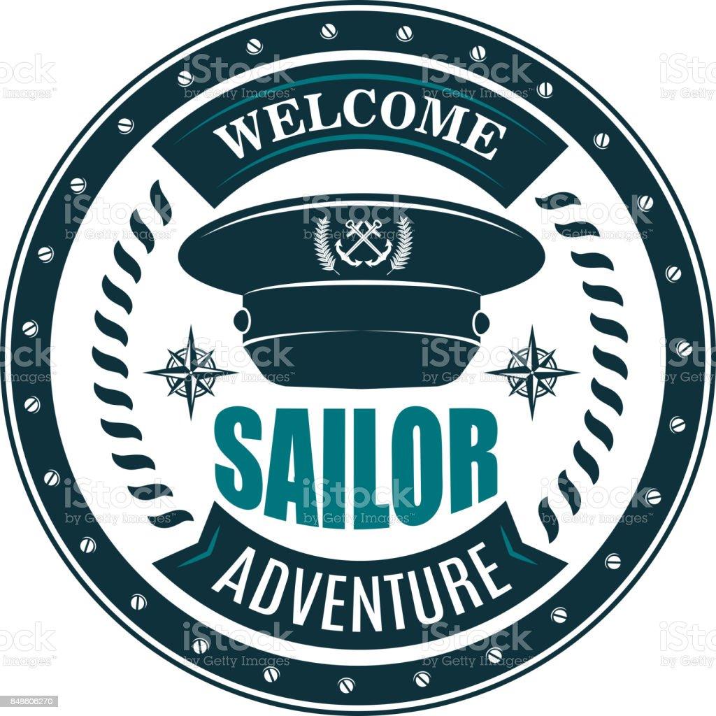Nautical symbol design with sea captain cap vector art illustration