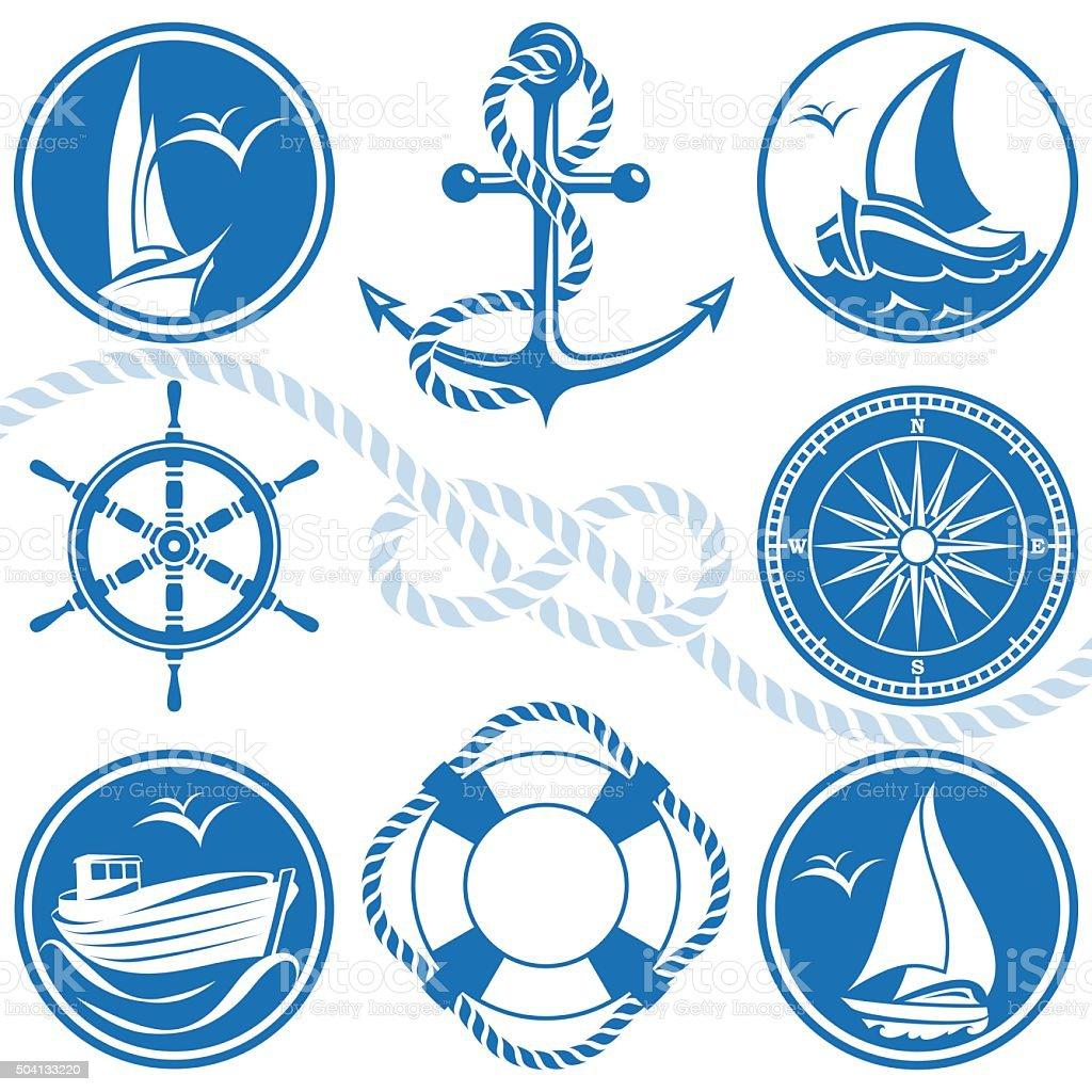 Nautical símbolos e ícones - ilustração de arte em vetor