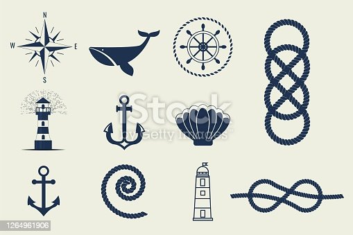 istock Nautical symbols and icons vector illustration 1264961906