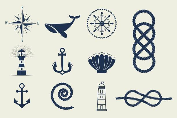 Nautical symbols and icons vector illustration Nautical symbols and icons Retro anchor label vector illustration. Traditional sailing marine badge. Classic sail maritime navigation antique logo. knotted wood stock illustrations