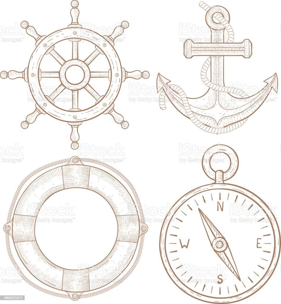 Nautical Symbols Steering Wheel Anchor Lifebuoy Compass Hand Drawn