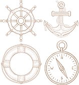 Nautical symbols - steering wheel, anchor, lifebuoy, compass. Hand drawn colored sketch
