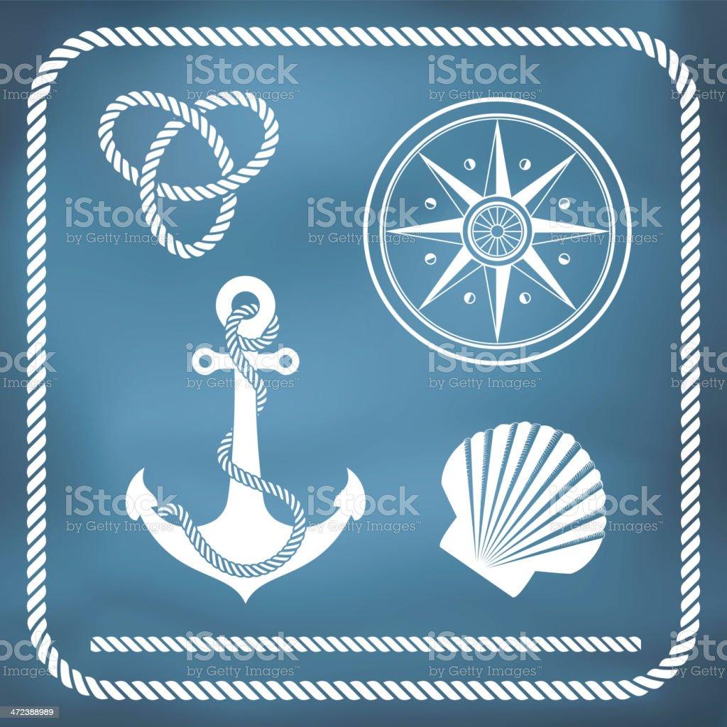 Nautical symbols vector art illustration