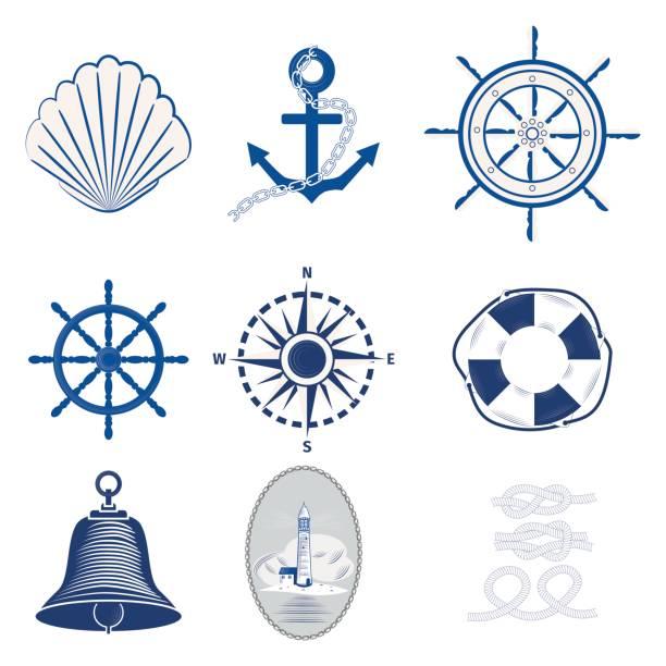 Nautical templates set marine labels sea badges anchor design emblems graphics vector illustration. vector art illustration