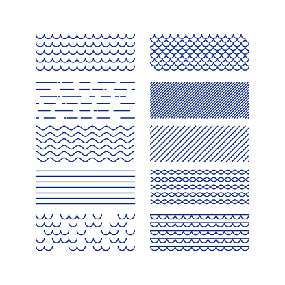 Nautical textures collection. Linear graphic. Sea theme design kit. .