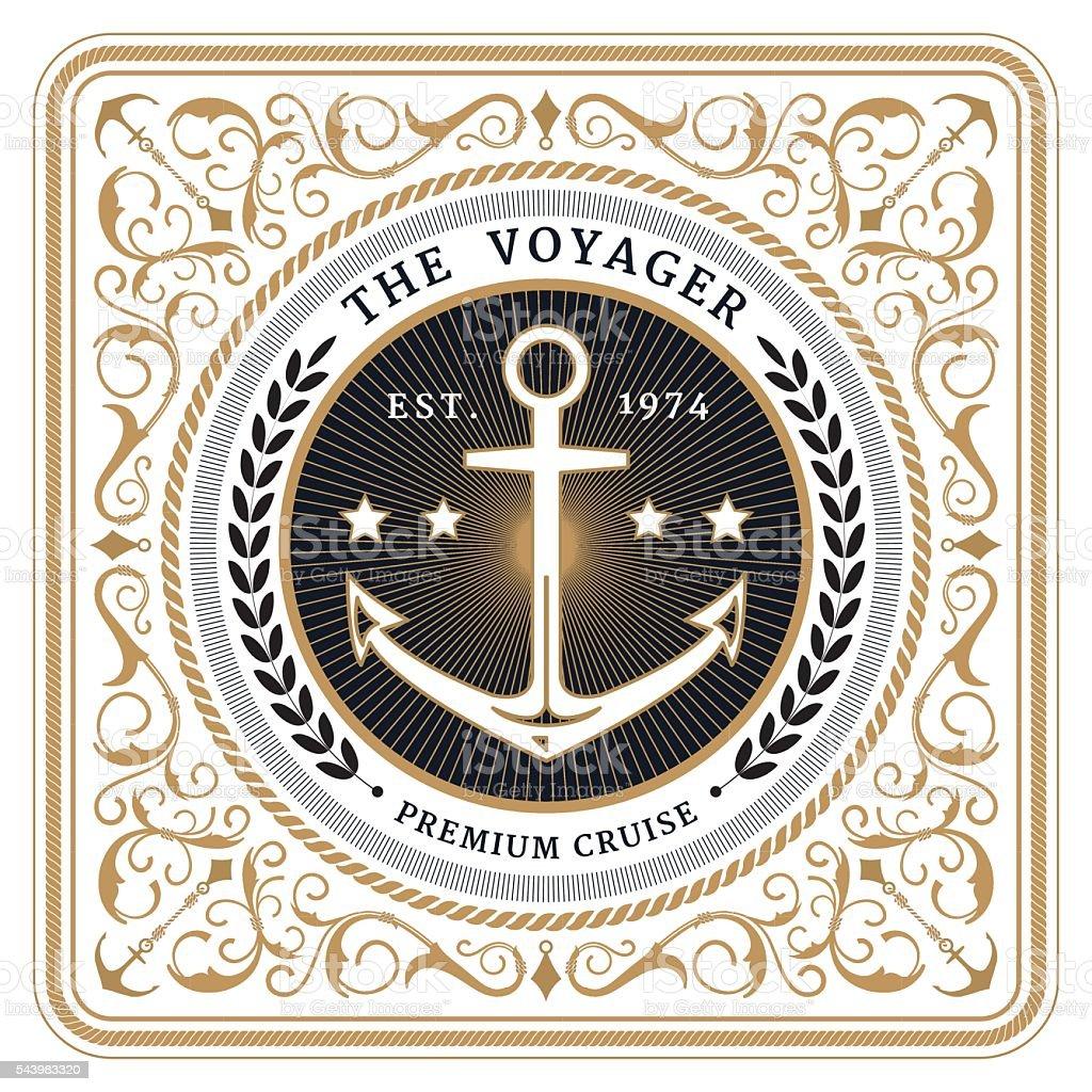 Nautical the voyager retro white card vector art illustration