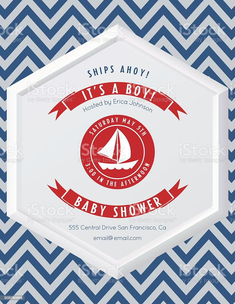 Nautical Theme Baby Shower Party Invitation Stock Vector Art & More ...