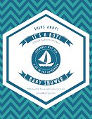 Nautical Theme Baby Shower Party Invitation. The background is a chevron pattern with a hexagon shape in the center. The text is in the center with ribbon banners and a sailboat.