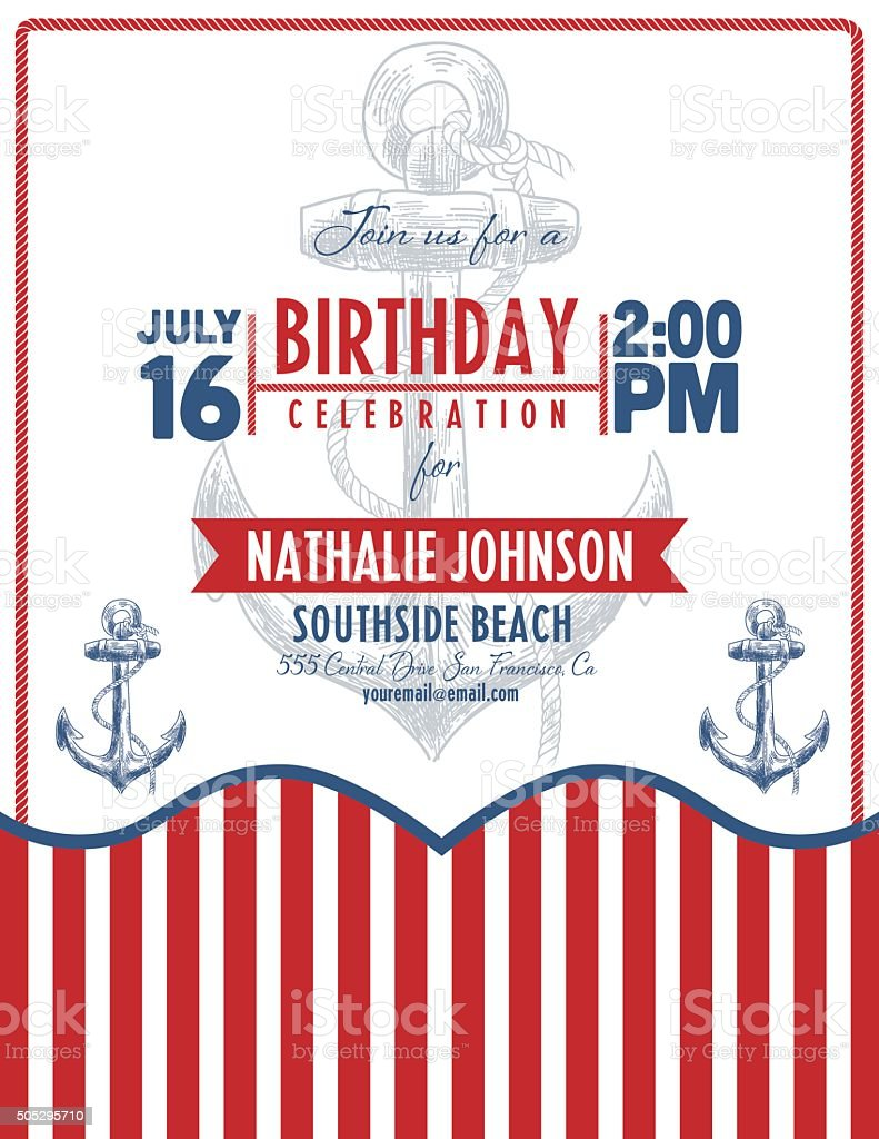 Nautical Theme Beach Party Invitation Stock Vector Art & More Images ...