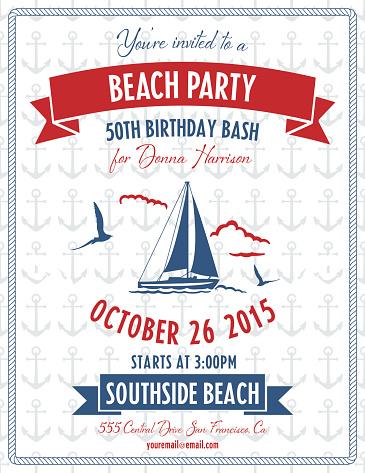 Nautical Theme Beach Party Invitation