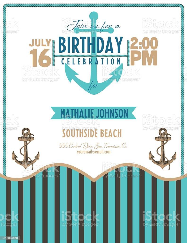 Nautical Theme Beach Party Invitation Stock Vector Art & More ...