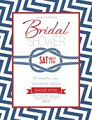 Nautical Theme Bridal Shower Invitation. Features a chevron pattern and a ribbon banners. There is a rope knot in the center.
