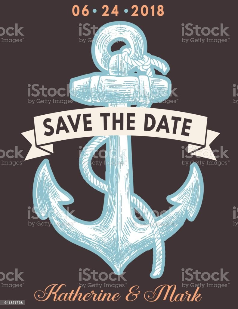 Nautical Theme Party Invitation Template Stock Illustration