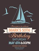 Nautical Theme Party Invitation. Features sailing or nautical elements. Space for text.