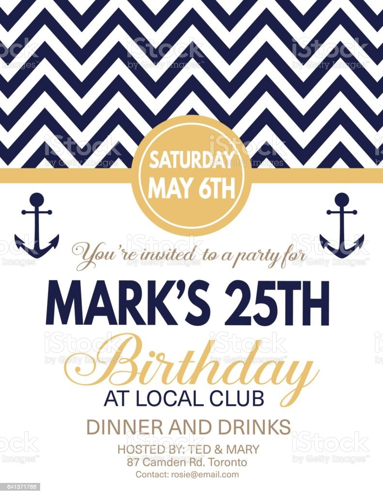 nautical theme party invitation template stock vector art more