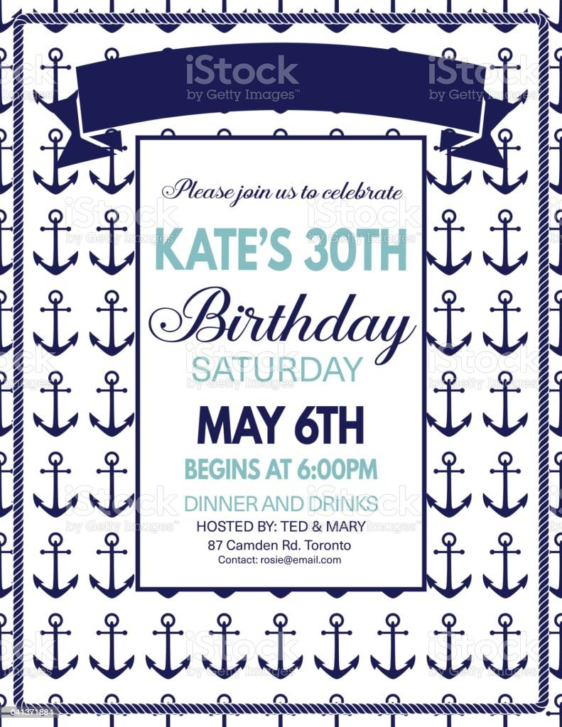 Nautical Theme Party Invitation Template Stock Vector Art & More ...