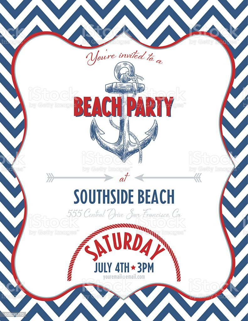 Nautical Theme Party Invitation Stock Illustration