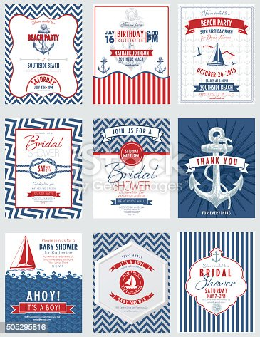 Nautical Theme Party Invitations collection. Features an anchor, compass rose, sailboat, seagull, chevron patterns and hand drawn anchor. Lots of elements . There is a frame in the centre with text.