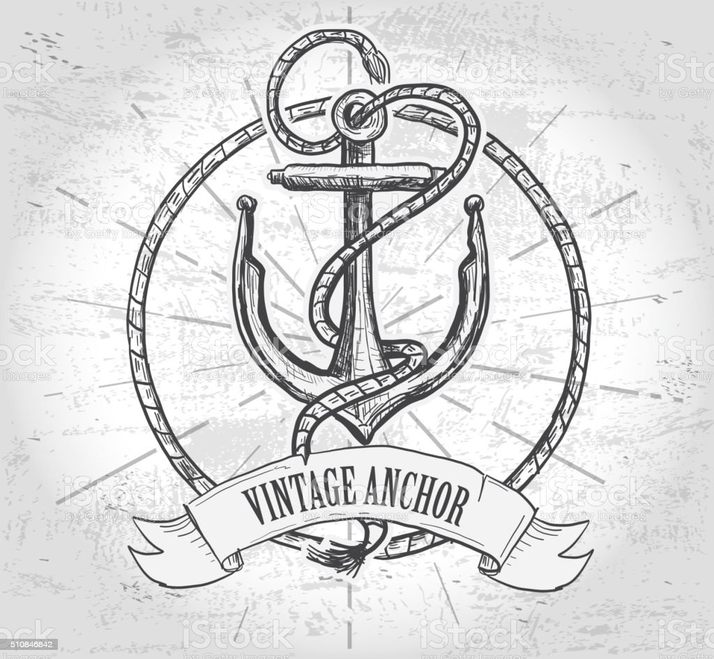 Nautical themed anchor design with rope and banner royalty-free nautical themed anchor design with rope and banner stock vector art & more images of antique