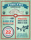 Fish Fry fundraiser template with a nautical theme. There are fish and other decorative elements as well as lots of room for text. Aged colors, red and green