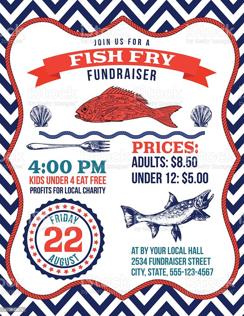 nautical themed fish fry poster template stock