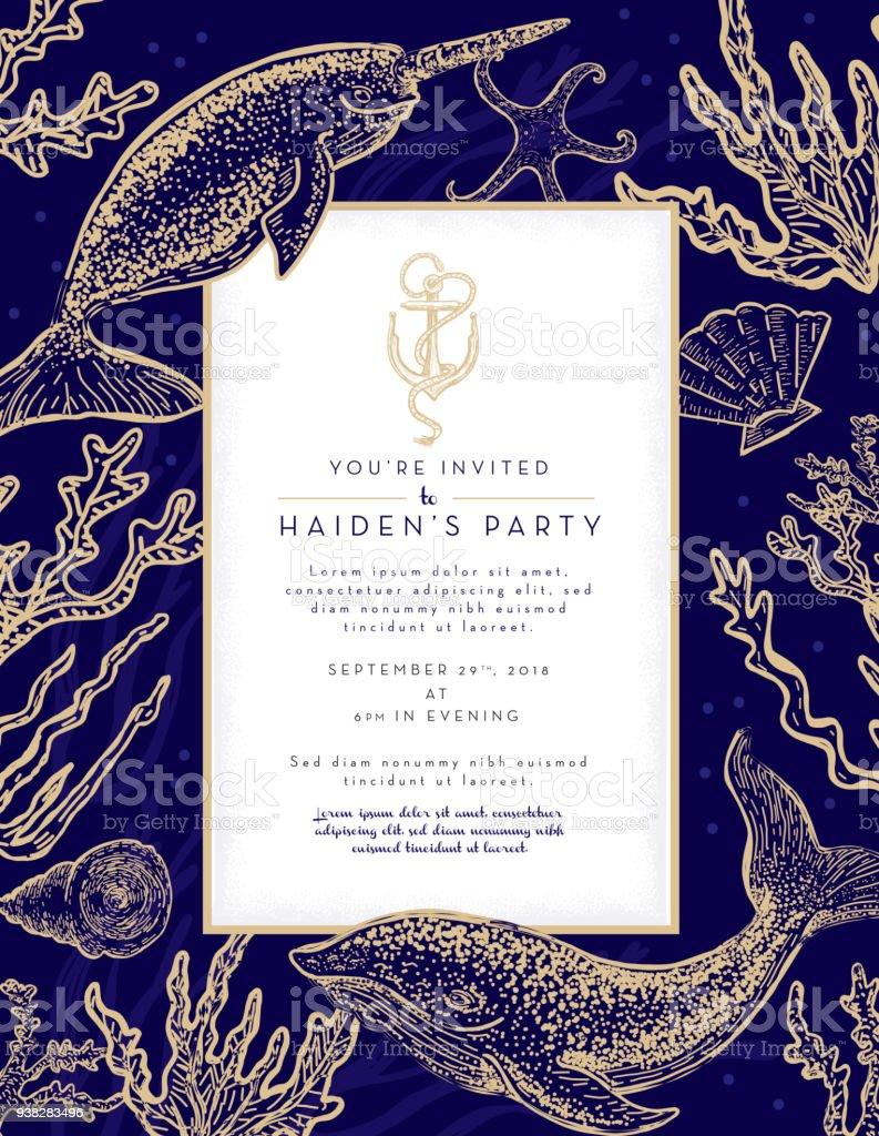 Plantilla de diseño de invitación con tema náutico con conchas de mar, algas y ballenas narval - ilustración de arte vectorial
