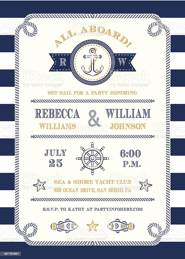 Nautical Themed Invitation vector art illustration
