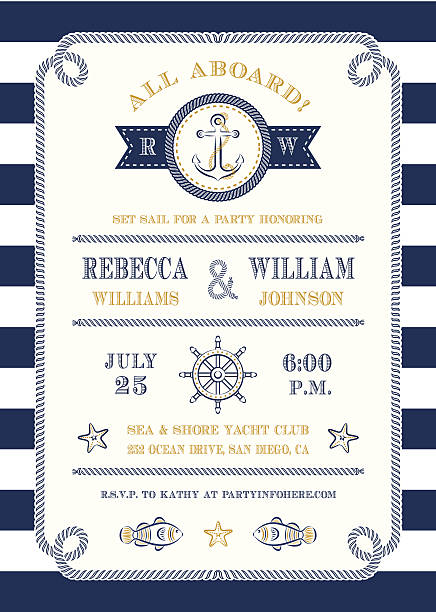 Nautical Themed Invitationvectorkunst illustratie