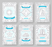 Nautical thin line brochure cards set. Sea template of flyer, magazines, posters, book cover, banners. Travel outline invitation concept background. Layout quality modern pages.