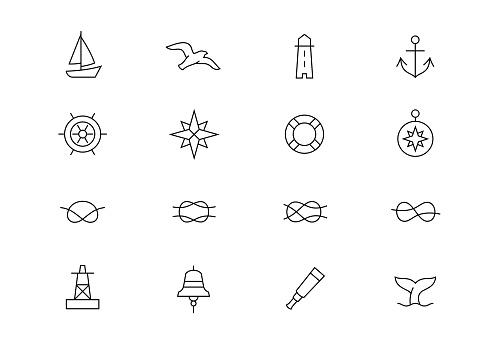 Nautical thin line vector icons. Editable stroke