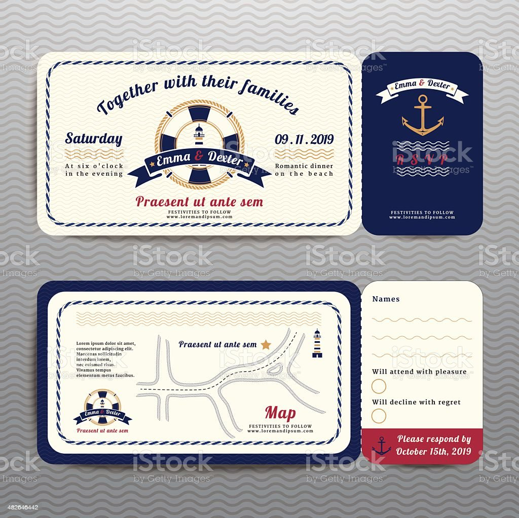 Nautical ticket wedding invitation and RSVP card  with anchor rope