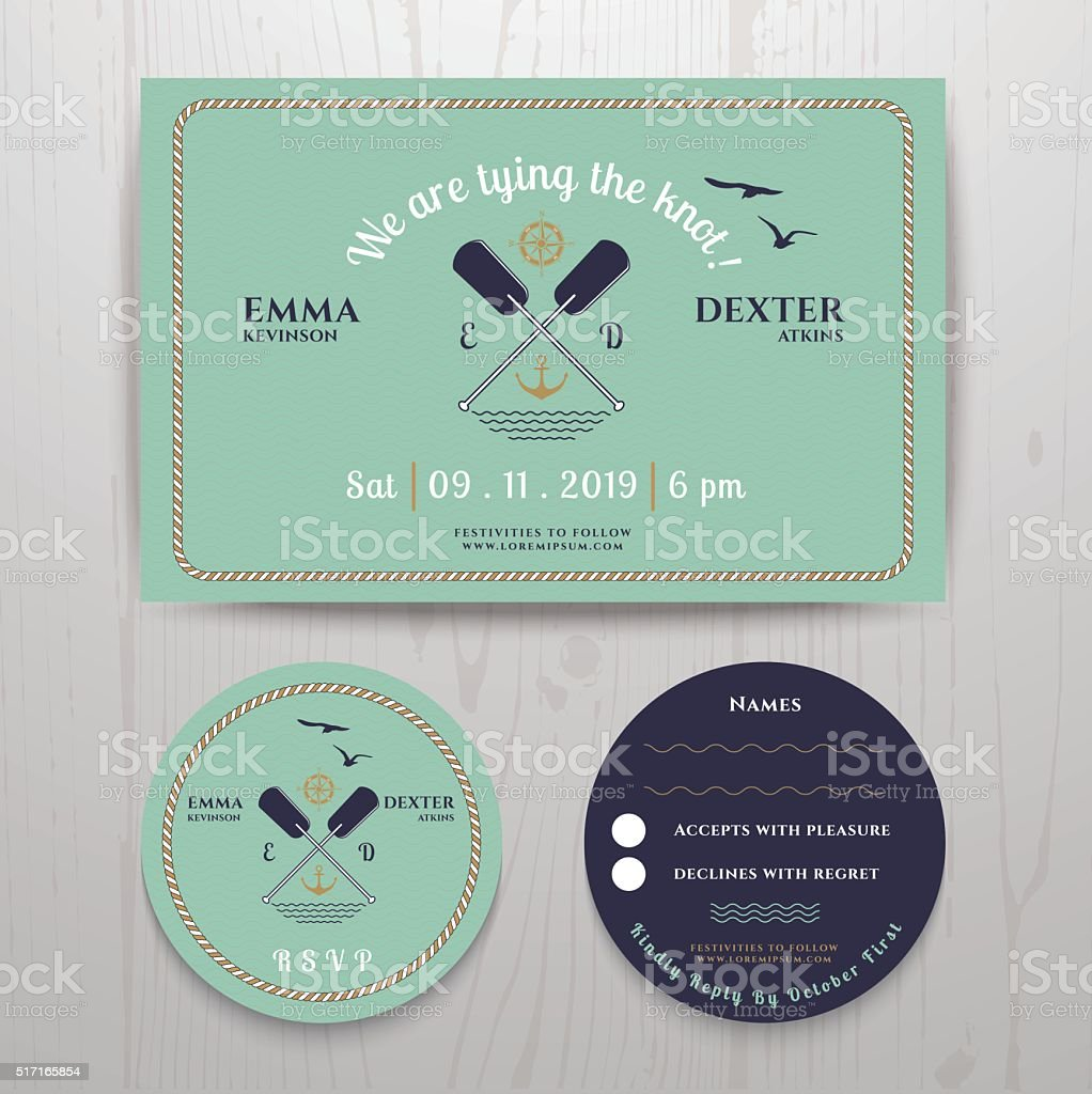 Nautical twin paddle wedding invitation and RSVP card template set vector art illustration