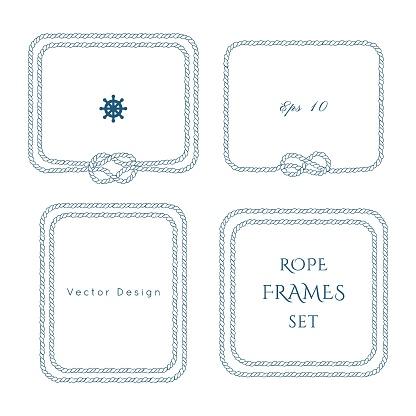 Nautical vector frame. Rope knot border design