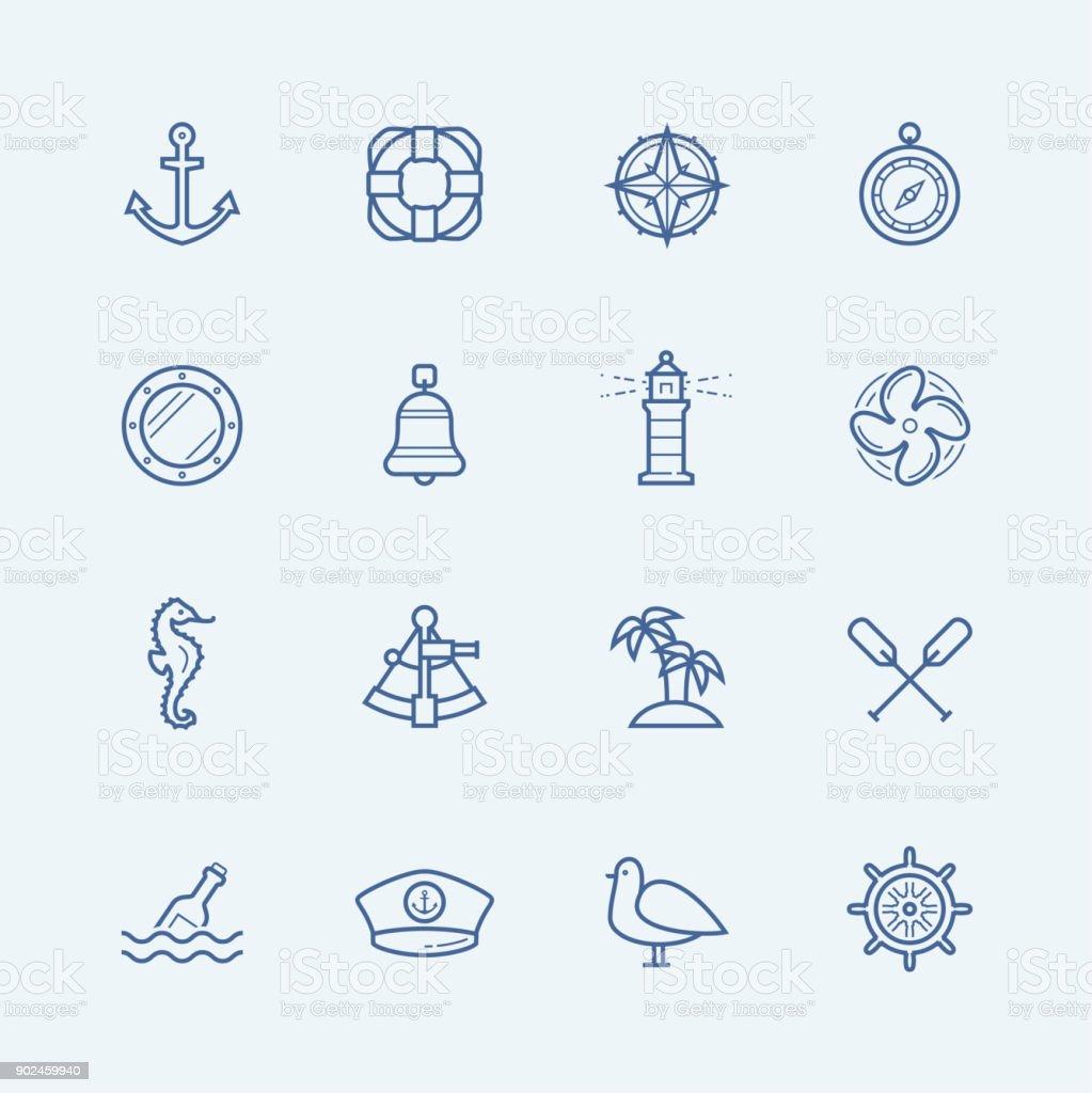 Nautical vector icon set vector art illustration
