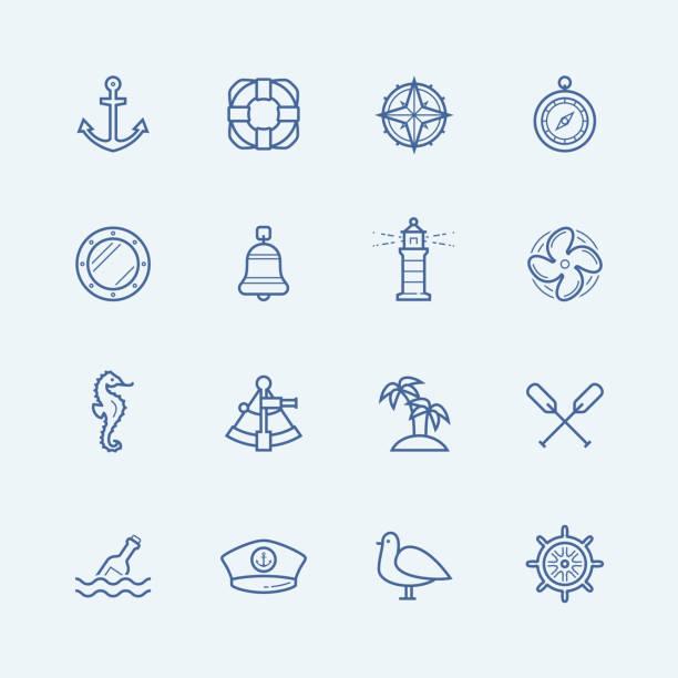 nautische vektor icon-set - matrosenmütze stock-grafiken, -clipart, -cartoons und -symbole