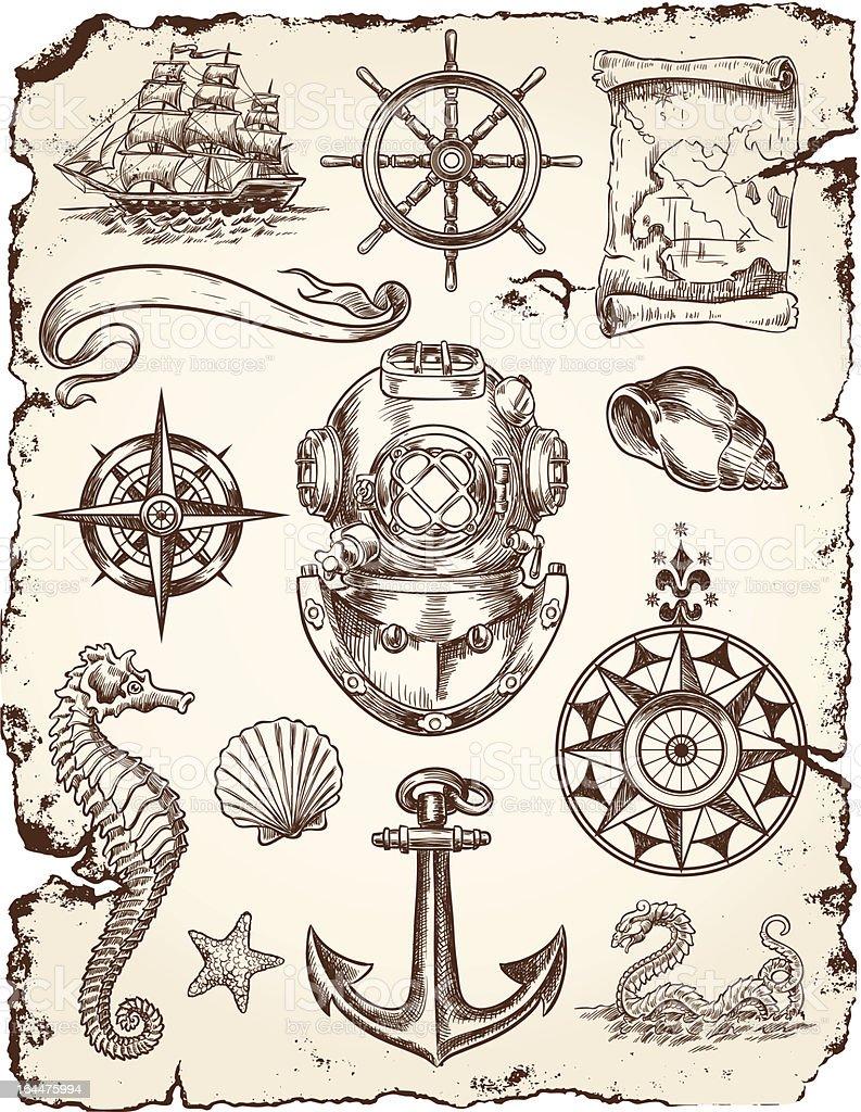Nautische Vektor-Illustration-Set – Vektorgrafik