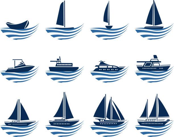 ilustrações de stock, clip art, desenhos animados e ícones de veículo aquático ícones - fishing boat