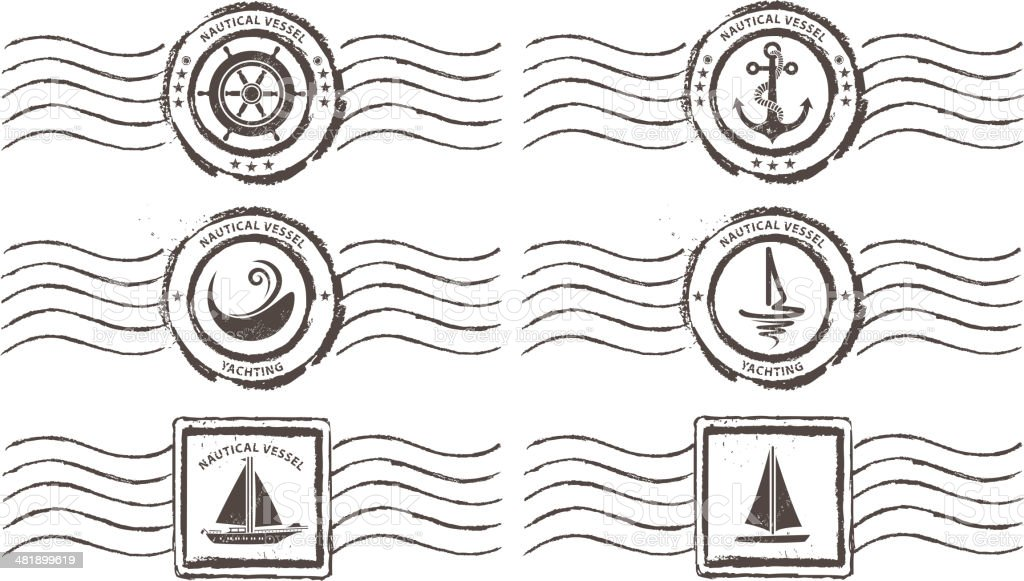 nautical vessel stamps royalty-free stock vector art